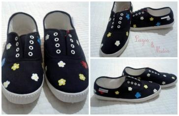 Zapatillas flores y mariposas