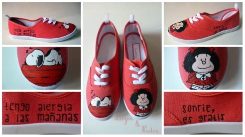 Zapatillas Mafalda y Snoopy